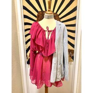 Vintage pop amazing ruffle fuchsia blouse